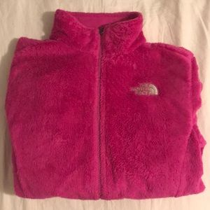 Fuzzy pink north face jacket